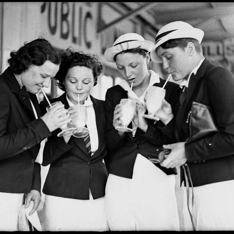 Empire Games representatives drinking milkshakes