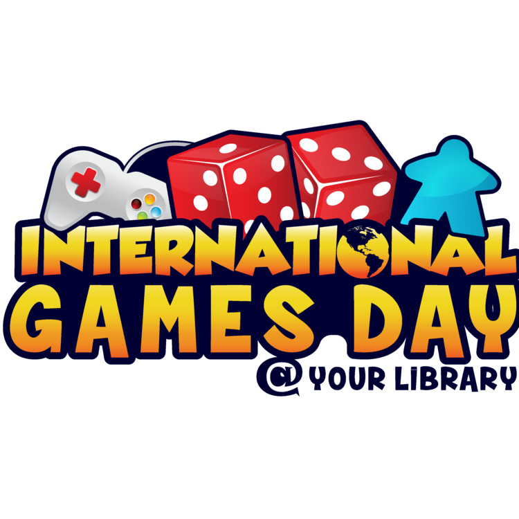 International Games Day logo with dice and controllers