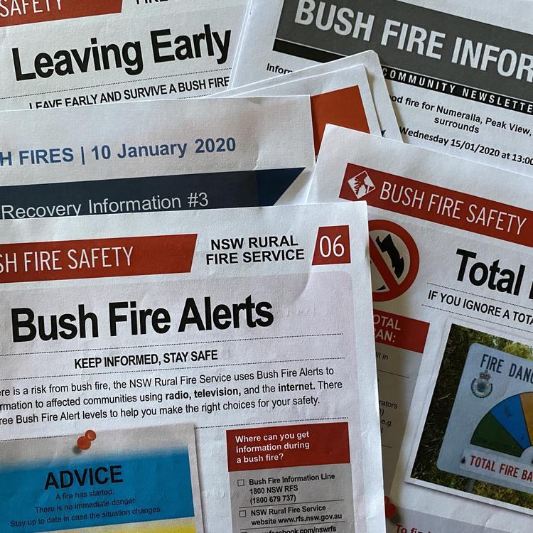 Various bushfire ephemera