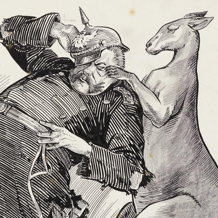 Illustration of boxing Kangaroo and solider by Hal Eyre