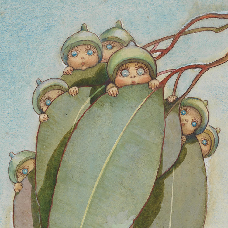 A hand drawn illustration of little people with gumnut hats clinging onto a gum leaf.