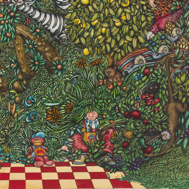 A colourful illustration of a lush, dense garden full of trees and flowers.
