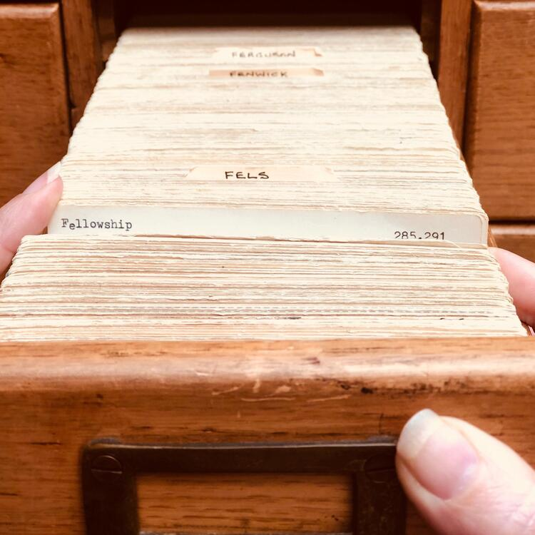Card catalogue with the card for 'Fellowships' visible