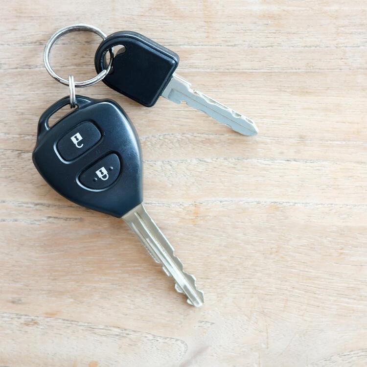 Car keys sitting on table