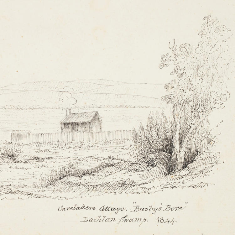 "Caretakers Cottage, ""Busby Bore"" Lachlan Swamp. 1844"