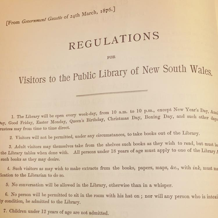 State Library of NSW rules and regulations, 1848