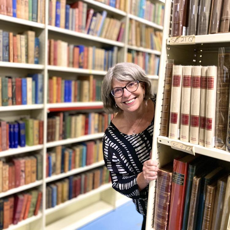 Maggie Patton in the stacks
