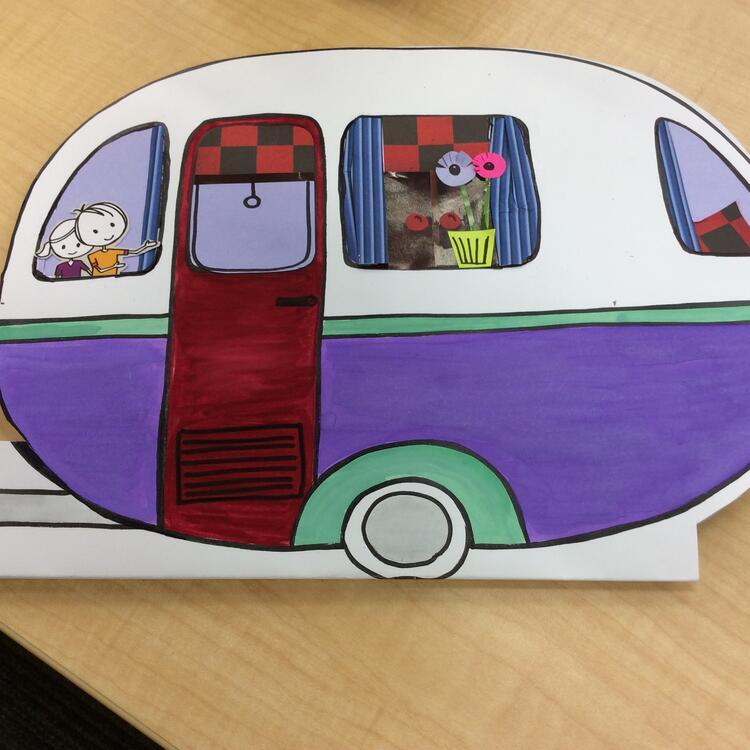 A handmade paper caravan