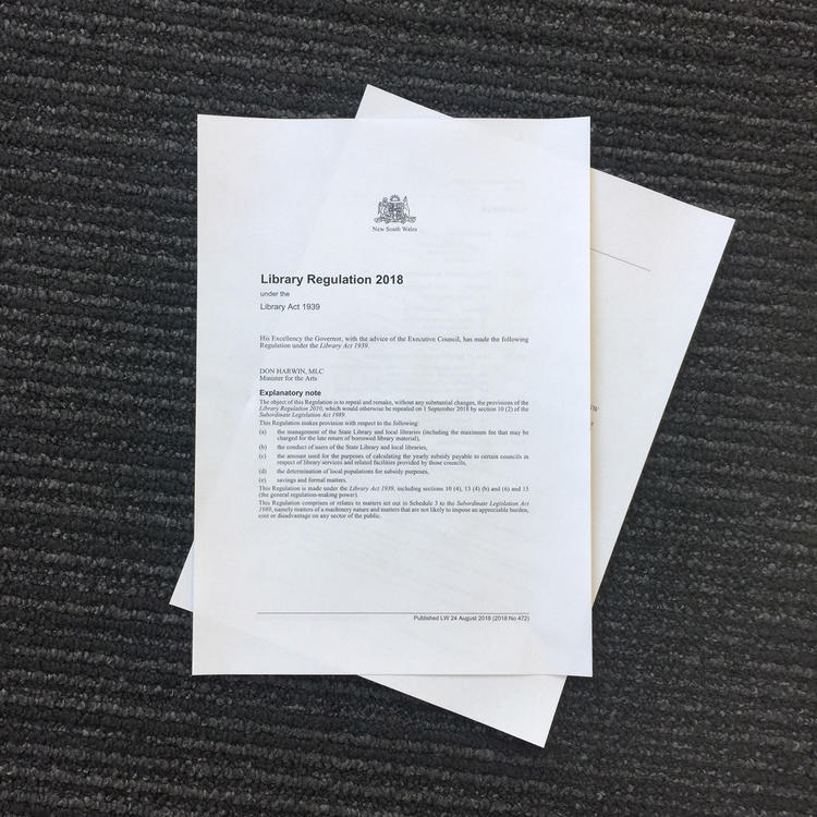 Copy of library regulation