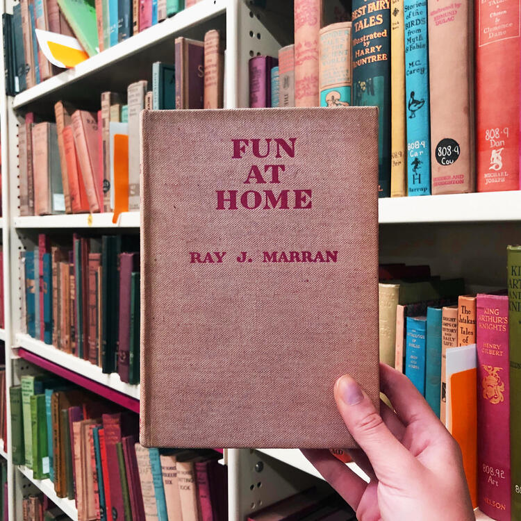 Hand holding up book titled 'Fun at Home' with book shelves in the background