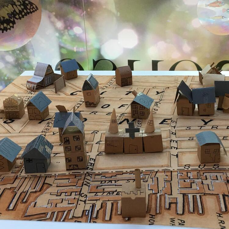 A map of Sydney created out of cardboard