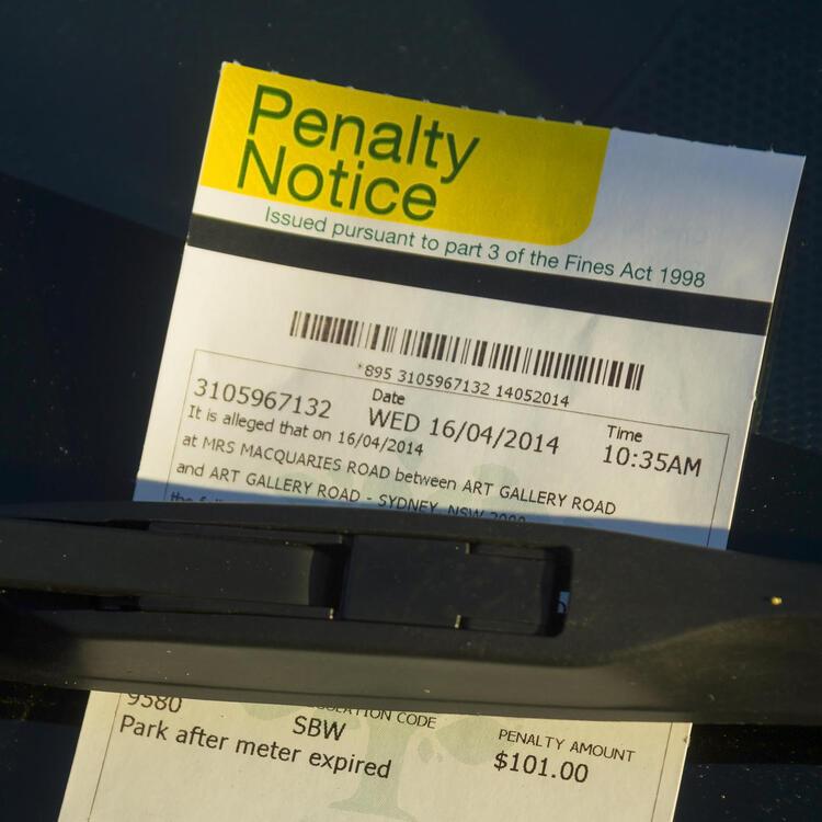Parking ticket on windscreen of car