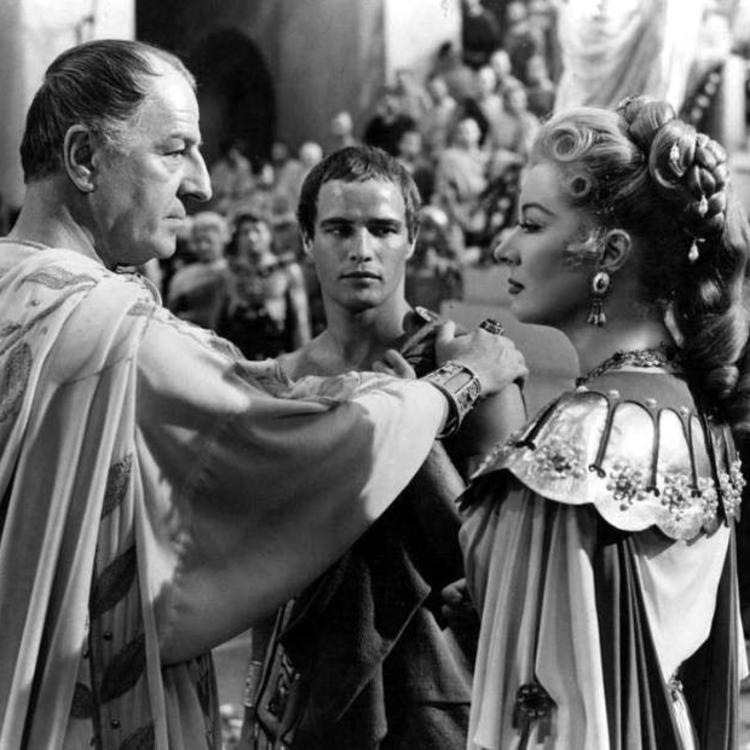Black and white film still of Marlon Brando in Julius Caesar