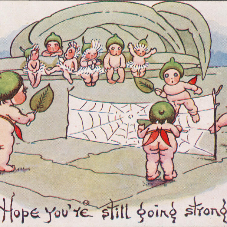 Hope you're still going strong! [tennis] c. 1916, colour postcard by May Gibbs