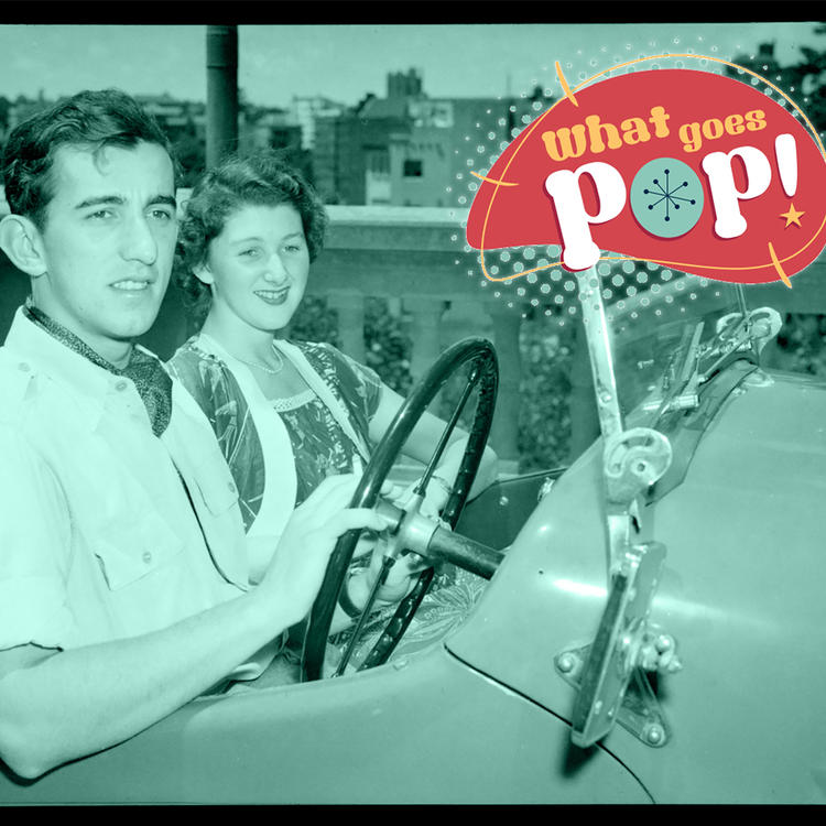 Young couple in two-seater sports car, ACP archive, c 1950, image featured in What Goes Pop display