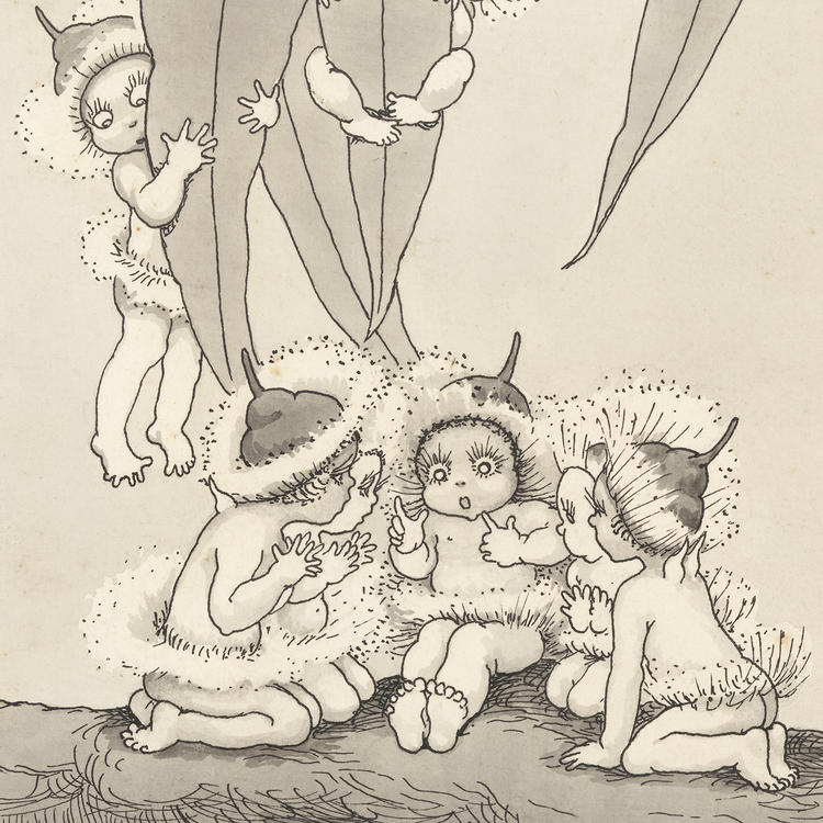A black and white hand-drawn illustration of tiny babies dressed up in gum blossom-petal hats, sitting and hanging off gum leaves.