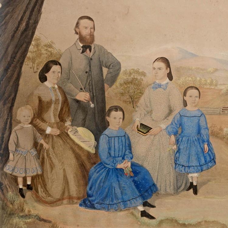 Colonial family portrait 1860s watercolour by R. Grindell