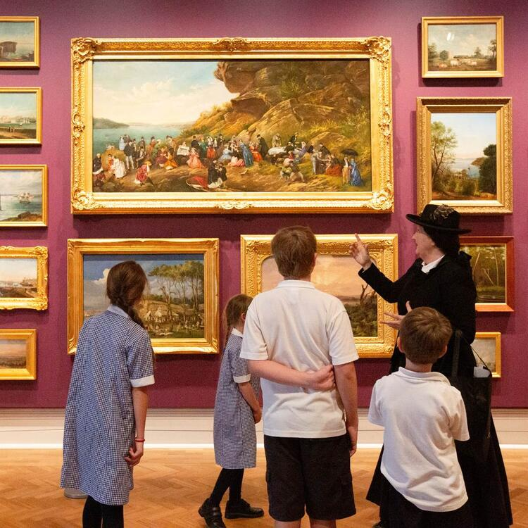 Kids on a tour in the Library's paintings gallery.