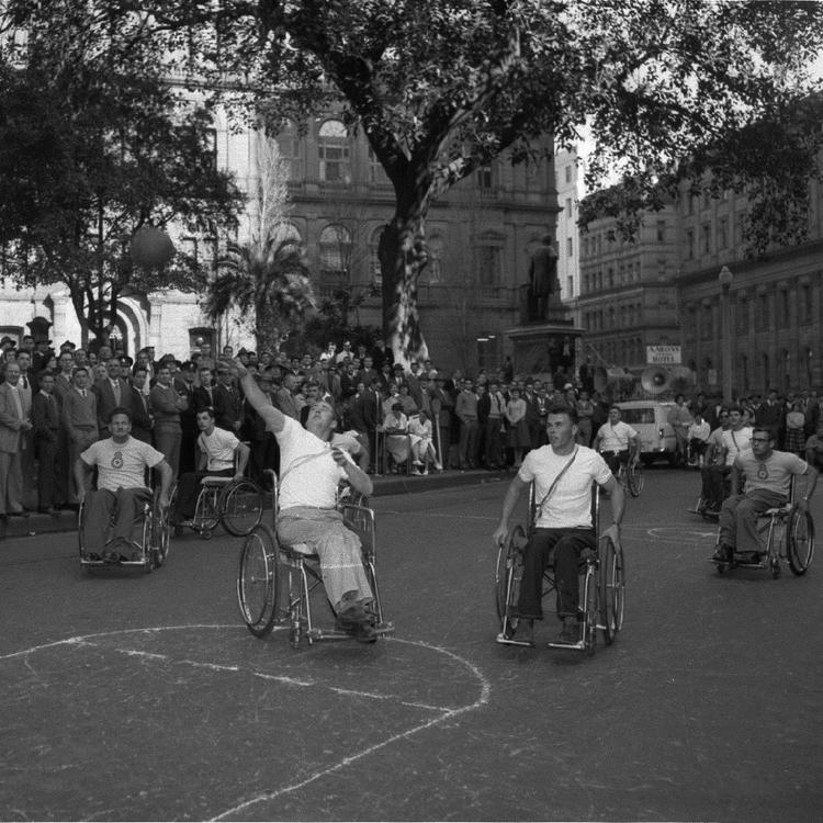 Wheelchair basketball match: Royal North Shore Hospital Paraplegic Centre vs Mt Wilga Macquarie Place, Sydney (July 1960)