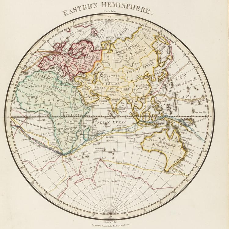 Map of eastern hemisphere of the world