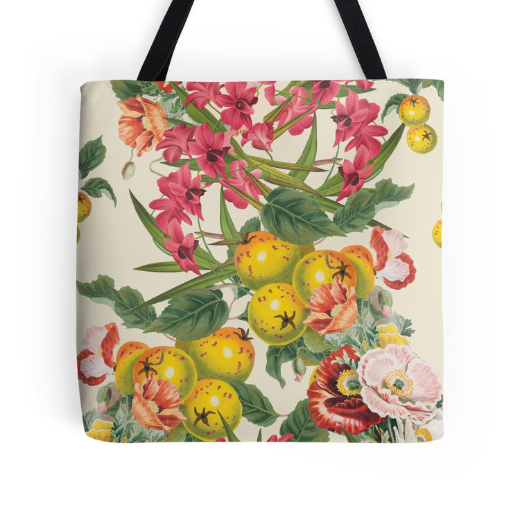 A bright floral print tote bag.