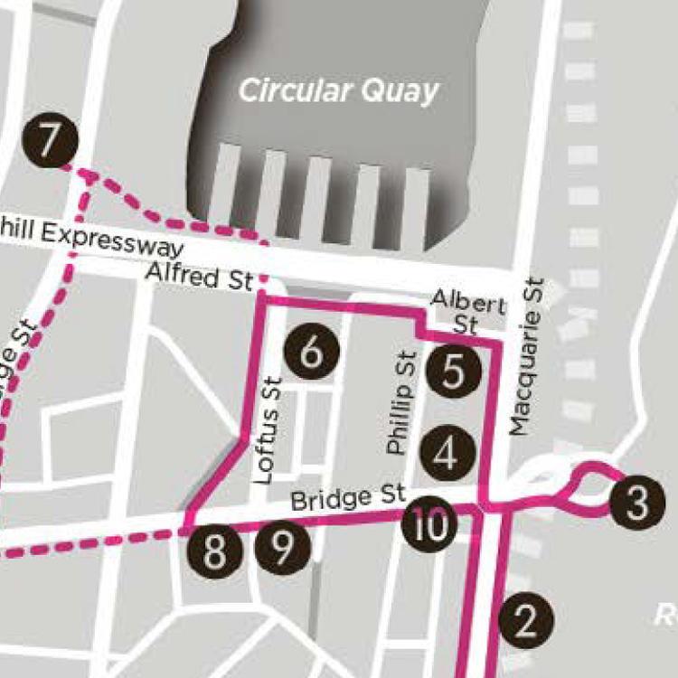 A section of a walking tour map taking in the area around Circular Quay
