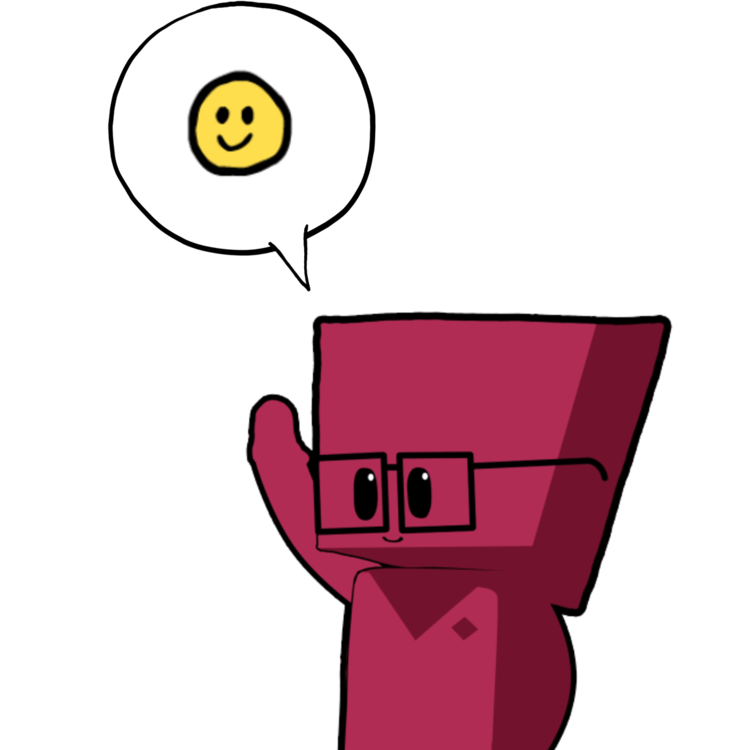 animated figure standing under a smiley face