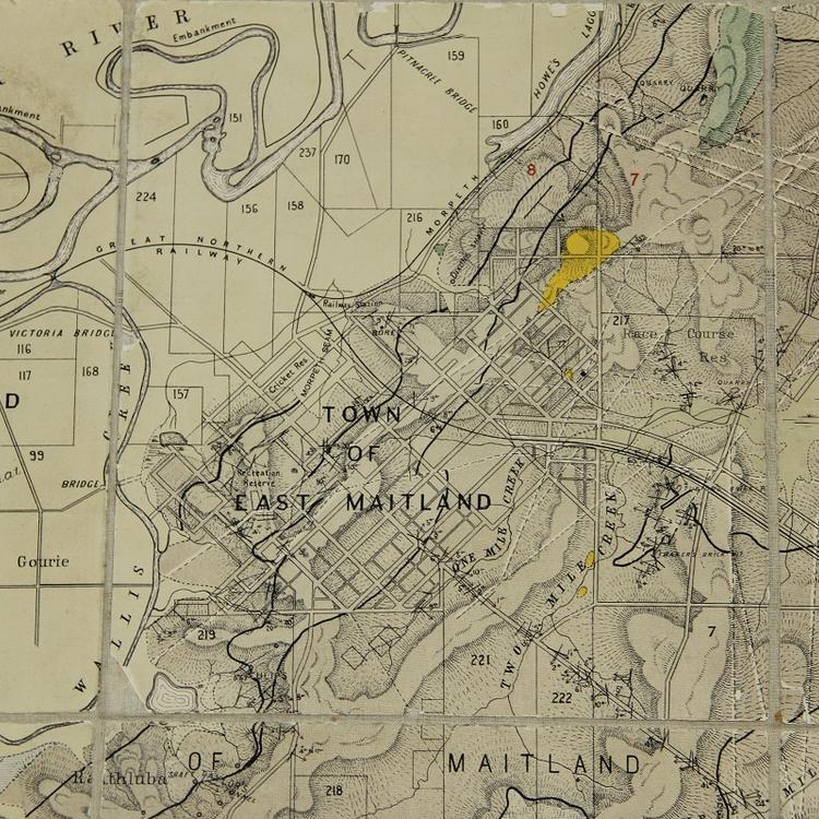Historic map of Maitland, courtesy of Maitland City Library