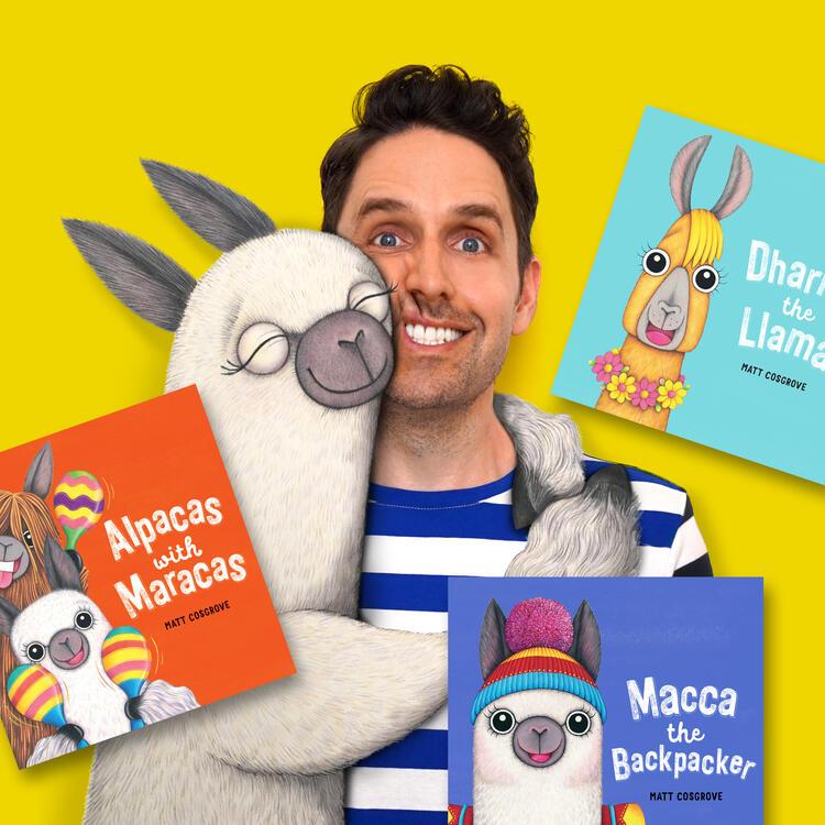 Author Matt Cosgrove with Macca the Alpaca and books