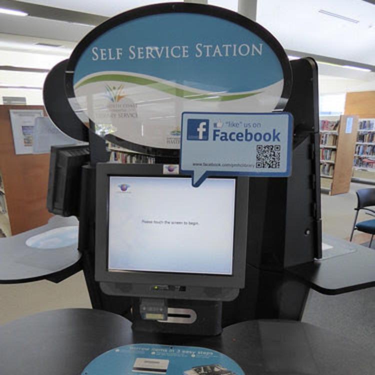 Library self check kiosk - Mid North Coast Co-op Library Service