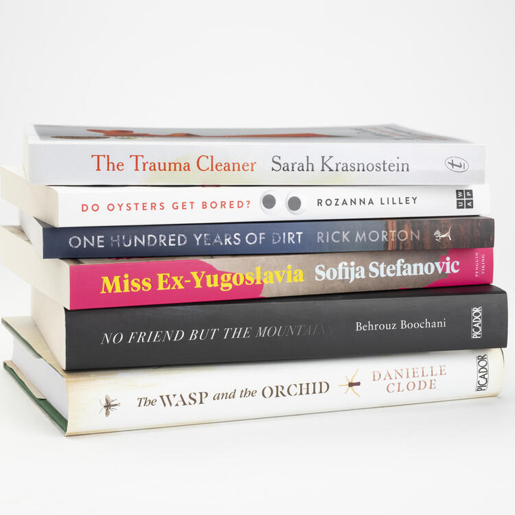 photo of books shortlisted for 2019 national biography award