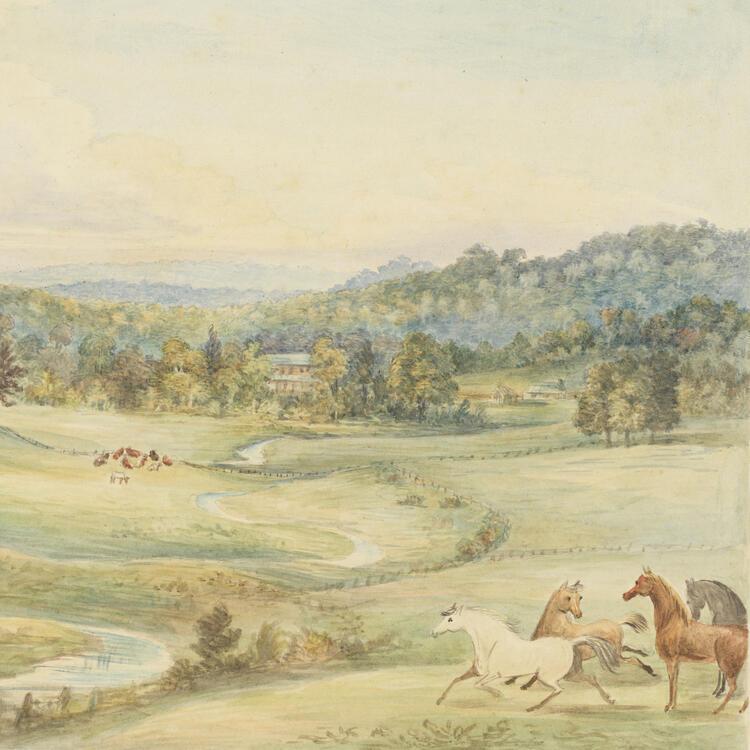 View at Oldbury, c 1826, by Charlotte Atkinson