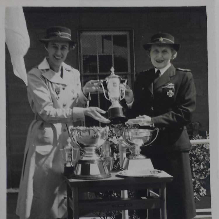 Phyllis Jenkins and Lady Galleghan with Red Cross Voluntary Aid Detachment trophies, 1970s