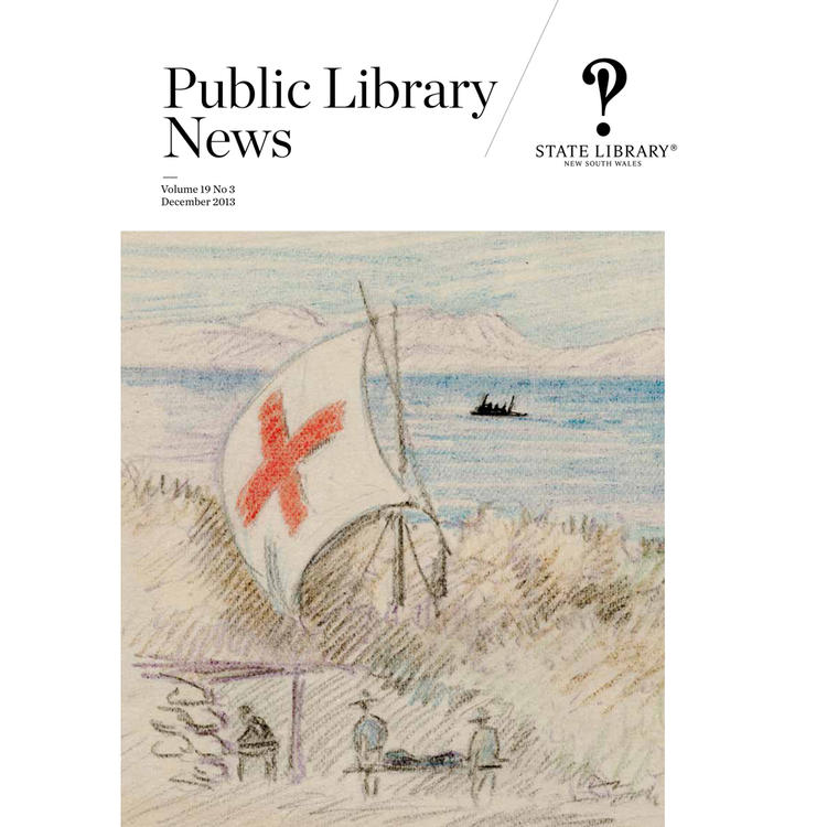 Magazine cover of drawing of ship with red cross on flag