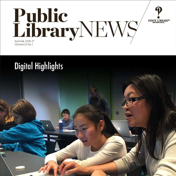 Front cover image of Public Library News, Summer 2016-17, showing a CAD for beginners workshop at City of Canada Bay Libraries