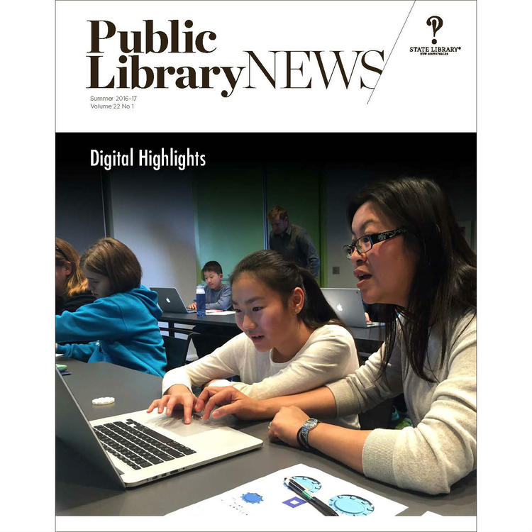 Front cover of Public Library News Summar 2016-17: City of Canada Bay Libraries' CAD for Beginners Family Jam Workshop