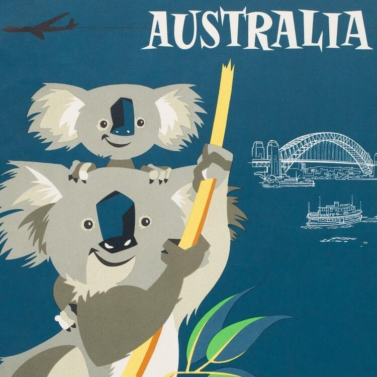 Series of three Qantas posters.