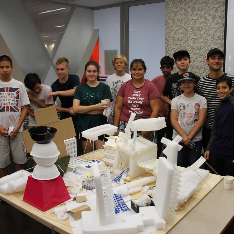 Happy teenagers after building tomorrow's city at Randwick Library