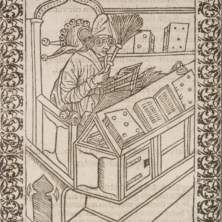 drawing of a man sitting at a desk of books reading