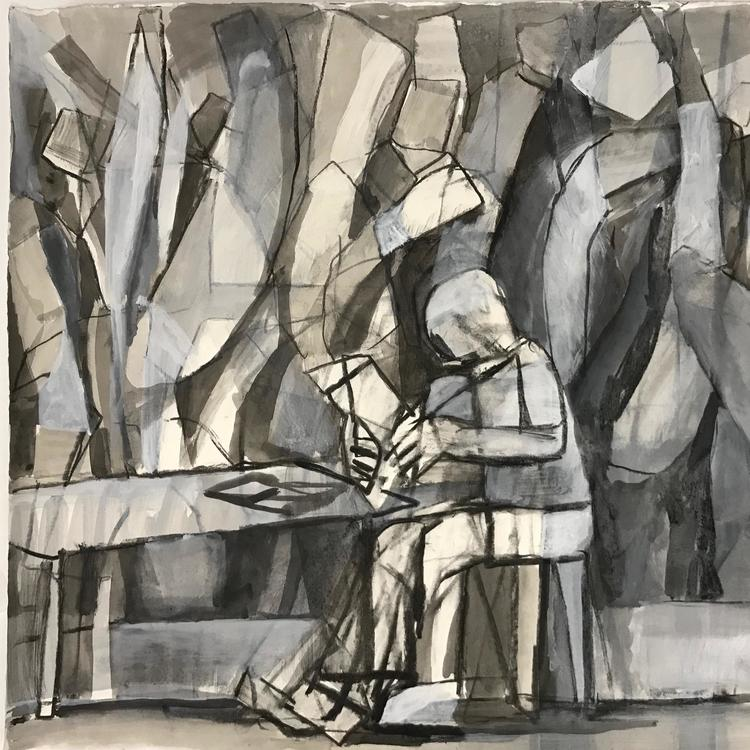 Charcoal drawing of a someone seating at a desk reading.