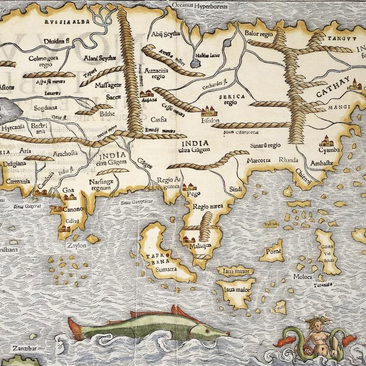 Medieval Map with sea monsters swimming in the ocean