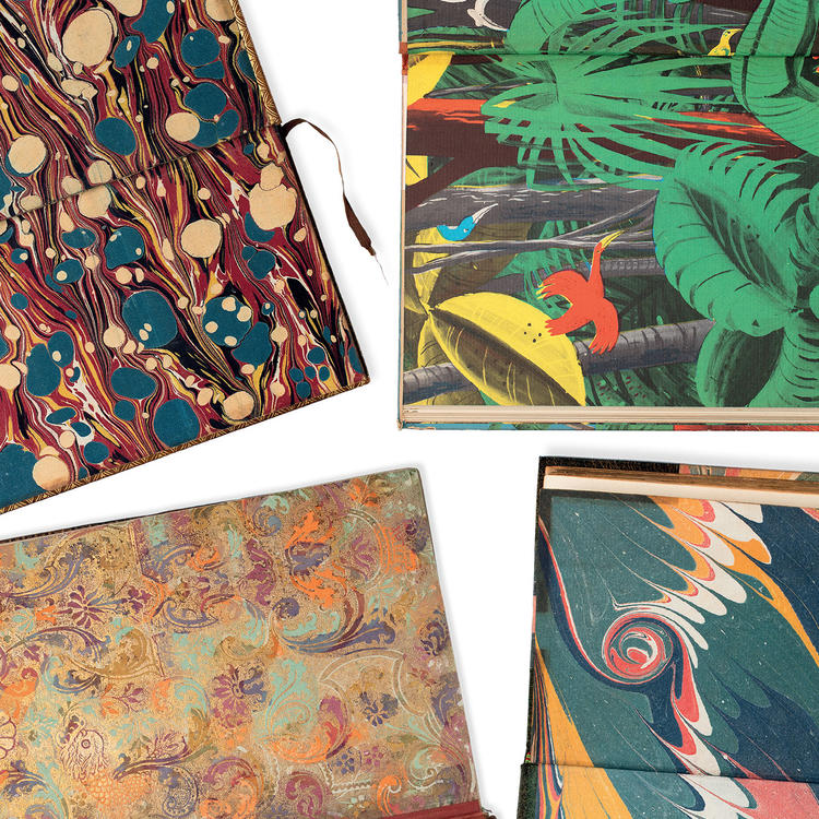 An assortment of four endpapers in various styles and colours.