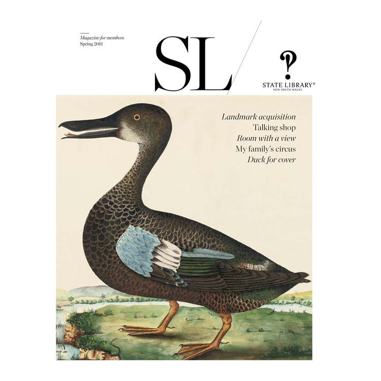 Duck standing on grass near water on cover of Spring 2011 New South Wales State Library Magazine