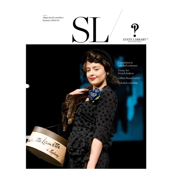 Woman with smiling carrying a carrying a hat box on cover of 2009-2010 New South Wales State Library Magazine