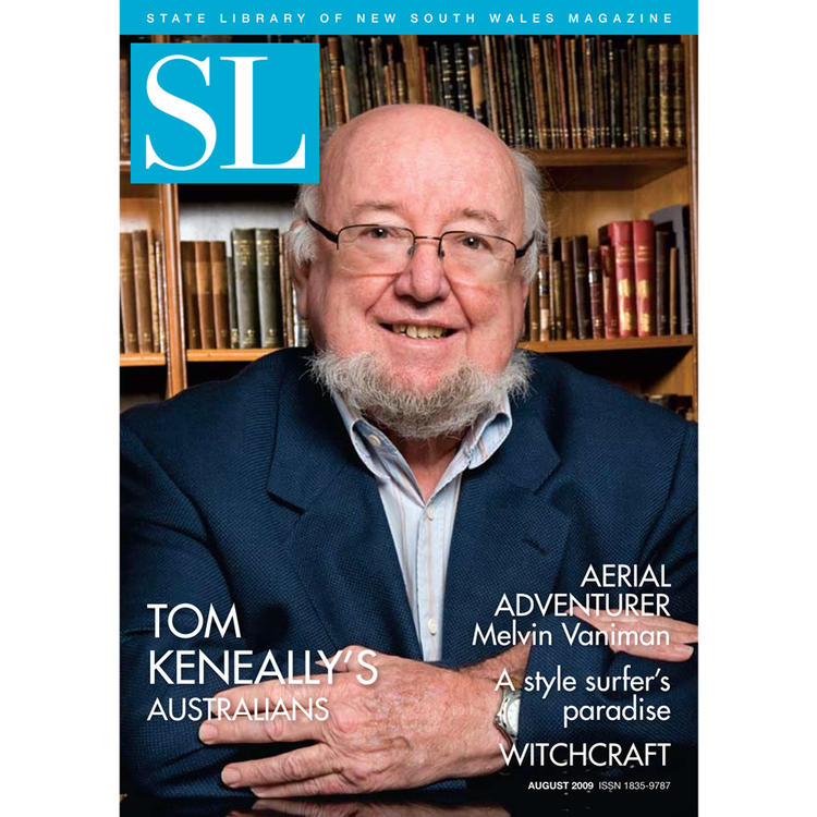 Novelist Thomas Keneally on cover of August 2009 New South Wales State Library Magazine