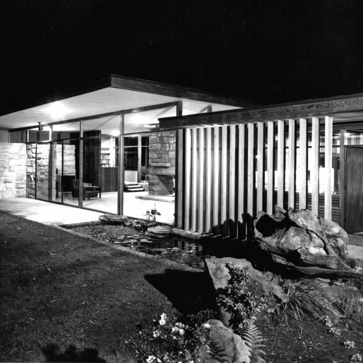 Photo of Snelling's concept perspective for the Keith Smith House, Mosman (1955–1958), published on the cover of Architecture and Arts magazine, February 1956