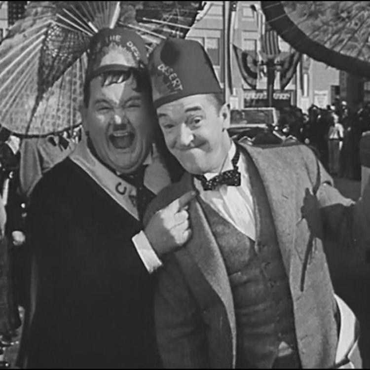 Black white still of Laurel and Hardy from film Sons of the Desert