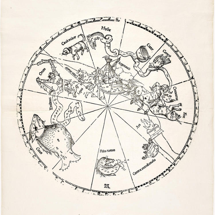 Imagines coeli meridionales, printed 1781 from blocks created in 1515, by Johannes Stabius, cartographer, Albrecht Dürer, engraver