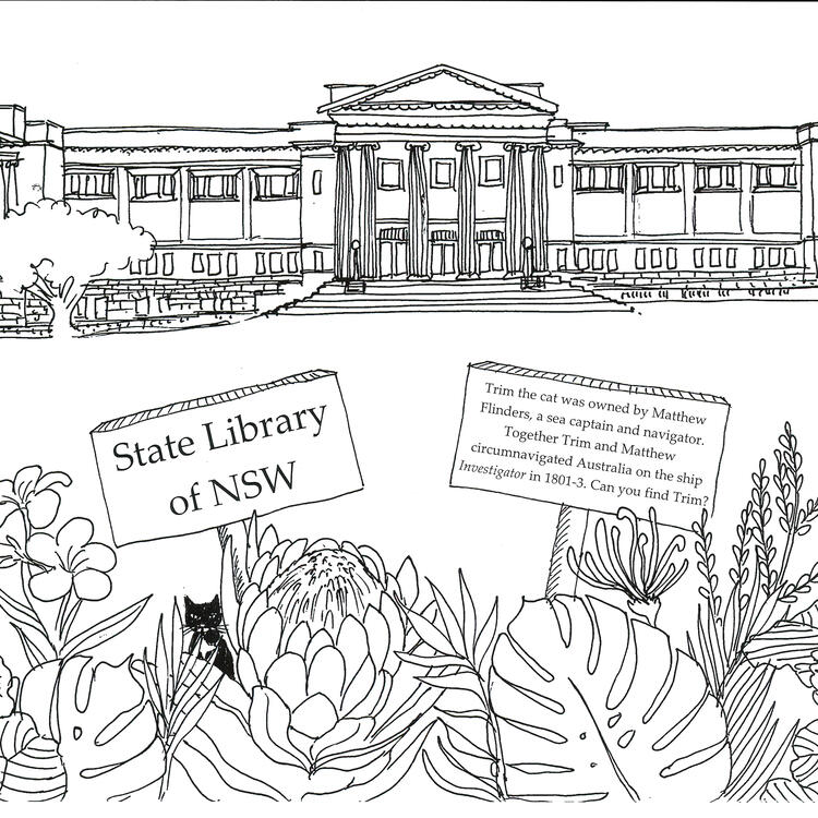 A black line drawing of the State Library of NSW