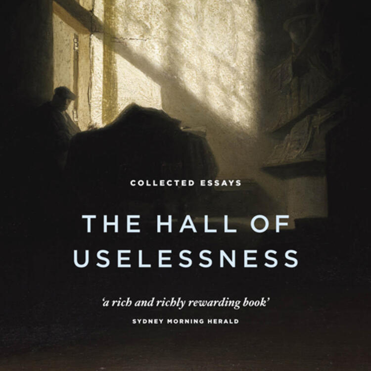 Large old hall with windows and a man sitting near a wall on book cover for The Hall of Uselessness by Simon Leys